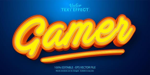 Gamer-text, bearbeitbarer texteffekt im cartoon-stil