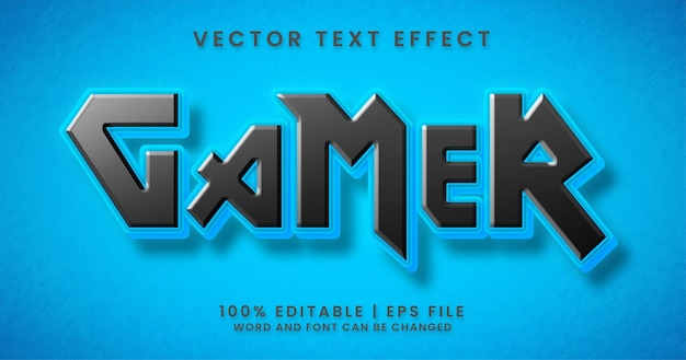 Gamer-text, blau-schwarzer bearbeitbarer texteffektstil