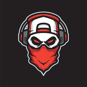 Gamers skull maskottchen logo