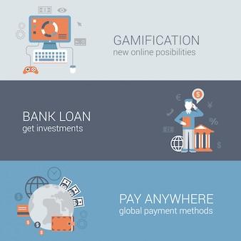 Gamification bank darlehen investition zahlen überall online-internet-business-technologie-konzepte flach designe illustrationen gesetzt.