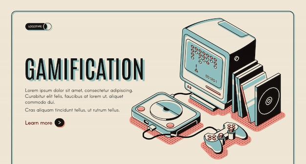 Gamification-banner, spielkonsole zum spielen, retro-video-playstation mit joystick und festplatten