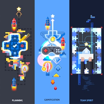 Gamification elements flat banners set
