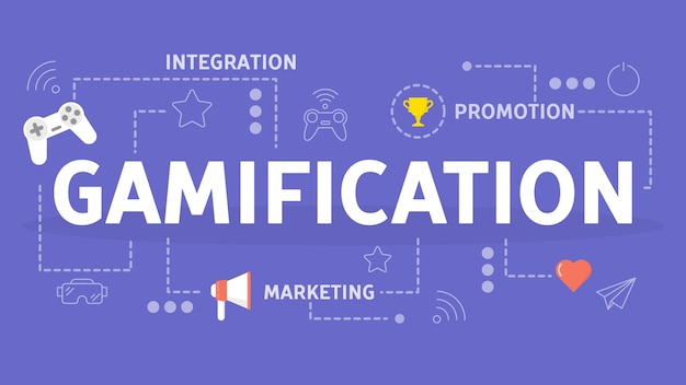 Gamification-konzept. integration der spielmechanik in die website