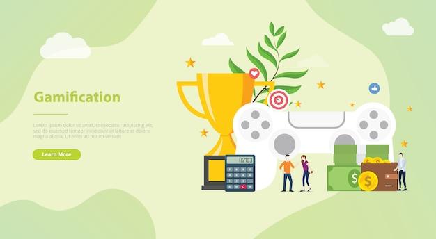 Gamification-lebenskonzept für websiteschablone oder landungshomepage Premium Vektoren