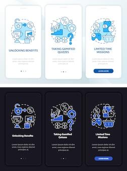Gamifizierte treueprogramme tag und nacht beim onboarding der mobilen app-seite. walkthrough 3-stufige grafische anweisungen mit konzepten. ui-, ux-, gui-vektorvorlage mit linearen nacht- und tagmodus-illustrationen
