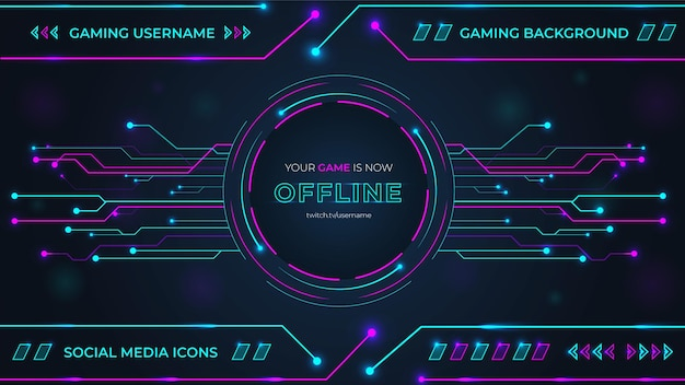 Gaming-hintergrund mit cyan- und magenta-farbkreisen, glühen und lichtern