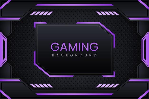 Gaming-hintergrund mit dunkelviolettem farbverlaufsvektordesign und geometrieverzierung