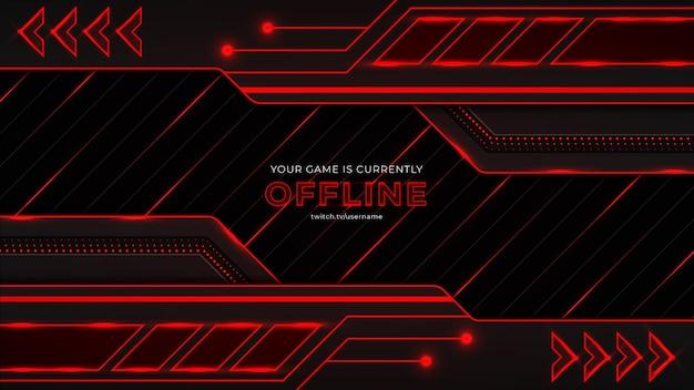 Gaming-hintergrund mit roten und schwarzen farbformen, schaltkreisen, glühen und lichtern