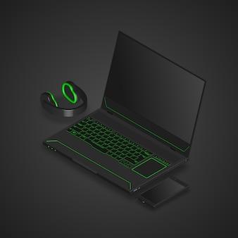 Gaming-laptop, smartphone und kopfhörer.