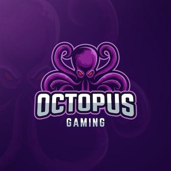 Gaming-logo-design mit tintenfisch