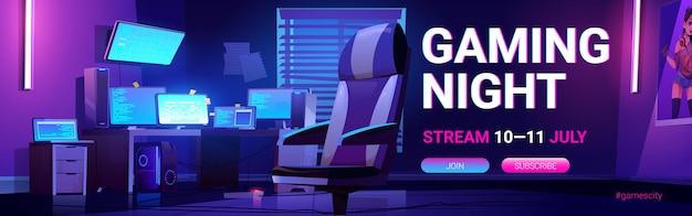 Gaming night stream web-banner mit teenager-spielerraum nacht interieur mit mehreren computermonitoren in der dunkelheit leuchten