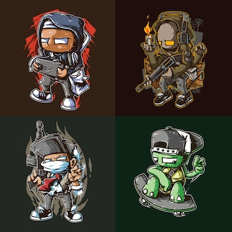 Gaming street artwork t-shirt design-paket