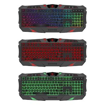 Gaming-tastatur mit led-hintergrundbeleuchtung. realistische computertastaturen eingestellt.