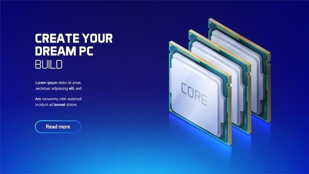 Gaming- und workstation-computer-cpu isometrisch
