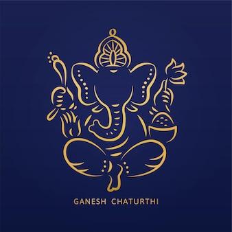 Ganesh chaturthi design mit goldener linie stil ganesha auf blau