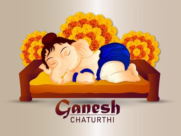 Ganesh chaturthi feierhintergrund mit realistischer illustration