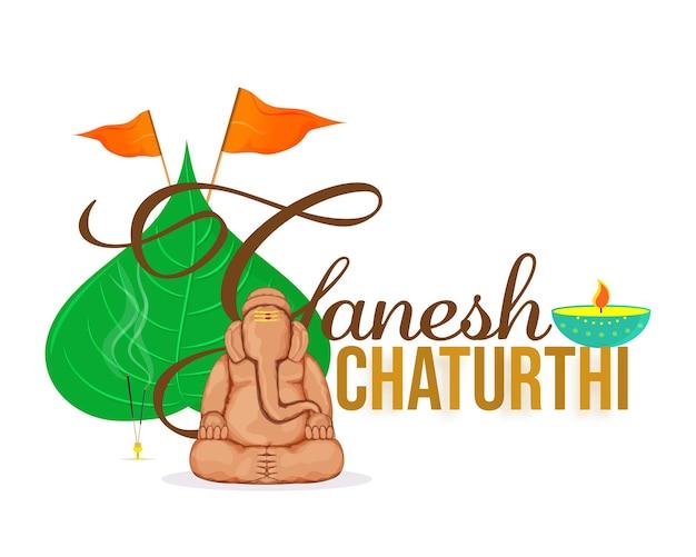 Ganesh chaturthi schriftart mit kreativem bodenidol von lord ganesha, peepal leaf, flaggen und brennendem diya auf weißem hintergrund.
