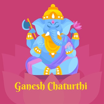 Ganesh chaturthi ziehen Premium Vektoren