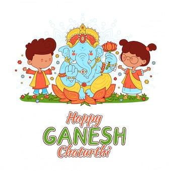 Ganesh indischer gott und kindercharakter. illustration der zeichentrickfigur. auf weißem hintergrund isoliert. glückliches ganesh chaturthi kartenkonzept