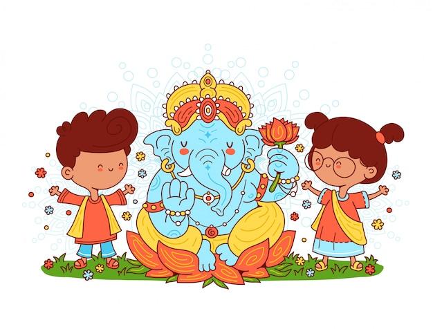 Ganesh indischer gott und kindercharakter. illustration der zeichentrickfigur. auf weißem hintergrund isoliert.
