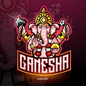 Ganesha esport logo für elektronisches sportspiel logo.