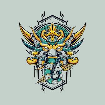 Ganesha-illustration im cyborg-stil