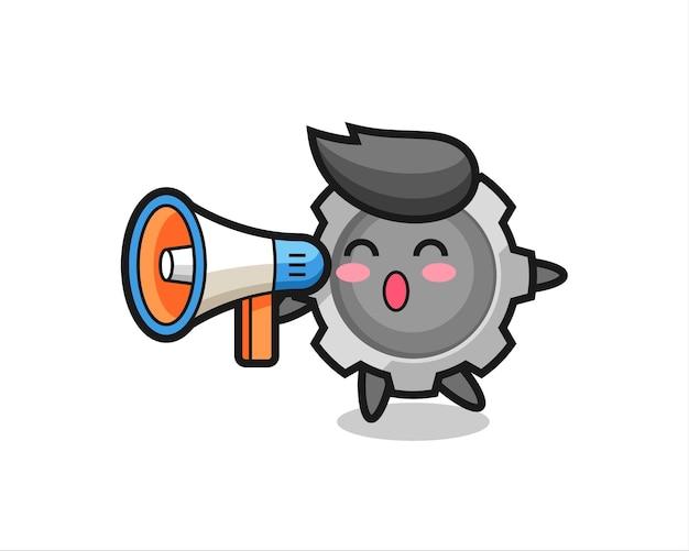 Gang-charakter-illustration, die ein megaphon hält, niedliches design für t-shirt, aufkleber, logo-element
