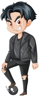 Gangster-mann-cartoon-figur auf weißem hintergrund