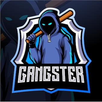 Gangster maskottchen esport logo design Premium Vektoren
