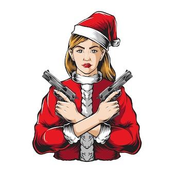 Gangster santa girl hält pistolenvektor