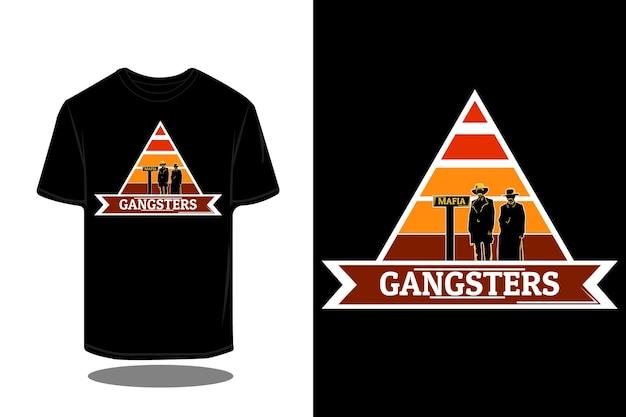 Gangster-silhouette im retro-t-shirt-design