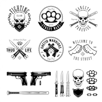 Gangstermonochrom beschriftet ausweisembleme und gestaltungselementsatz.