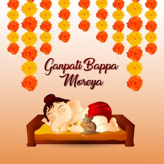 Ganpati bappa moreya feier grußkarte mit vektor-illustration von lord ganesha