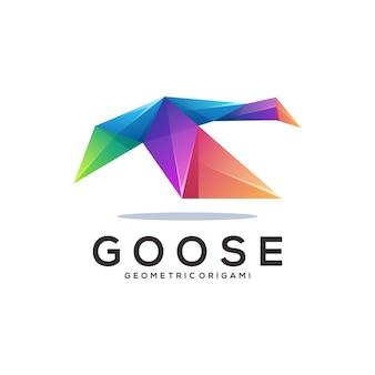 Gans-logo bunter geometrischer origami-farbverlauf
