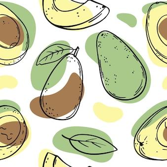 Ganze avocado und halbe skizzen mit gelben, grünen und braunen farbspritzern