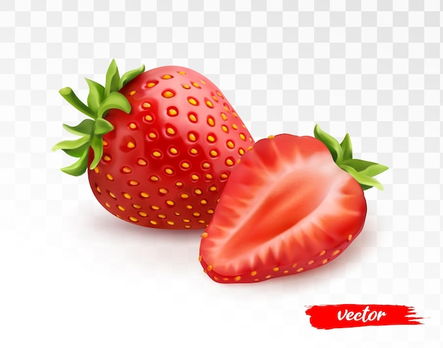 Ganze erdbeeren und die hälfte der erdbeere auf transparentem weißem hintergrund