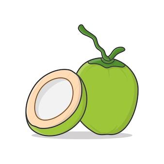 Ganze grüne kokosnuss und halbe kokosnuss-symbolillustration. frische junge kokosnuss-ikone