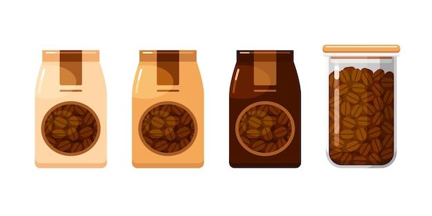 Ganze kaffeebohnen in papierverpackungen und vorratsbehälter für lebensmittel set von vektorillustrationen