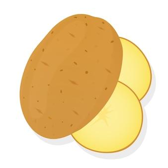 Ganze kartoffeln und kartoffelscheiben lokalisiert auf weißem hintergrund. ungeschälte kartoffelknolle. illustration.