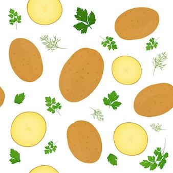 Ganze kartoffeln und kartoffelscheiben lokalisiert auf weißem hintergrund. ungeschälte kartoffelknolle mit petersilienblättern. illustration. nahtloses muster.