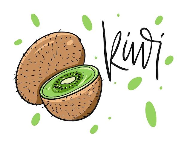 Ganze kiwi und scheibe. hand gezeichnet im karikaturstil.