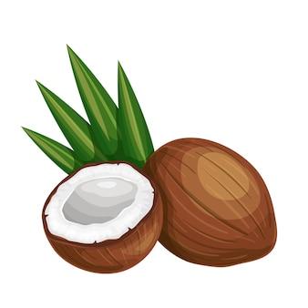 Ganze kokosnuss, kokosnusshälfte und palmblätter