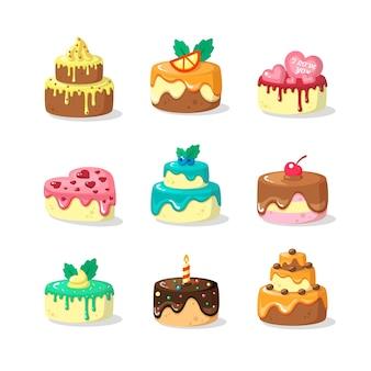 Ganze kuchen mit zuckerguss und obst flachen illustration set items