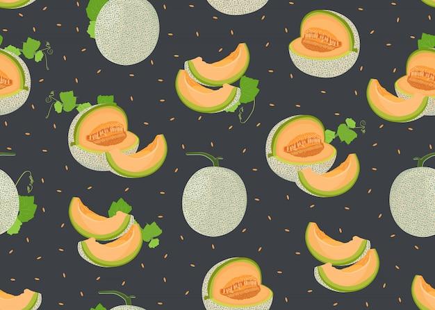 Ganze melone und nahtloses muster der scheibe