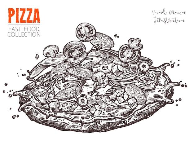 Ganze pizza mit verschiedenen zutaten von hand gezeichnet.