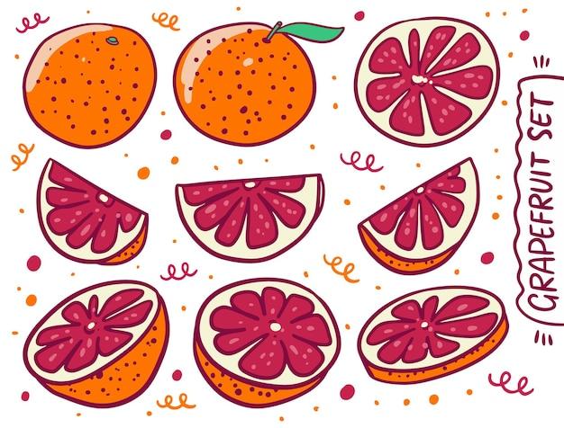 Ganze und geschnittene grapefruit-sammlung im cartoon-stil.