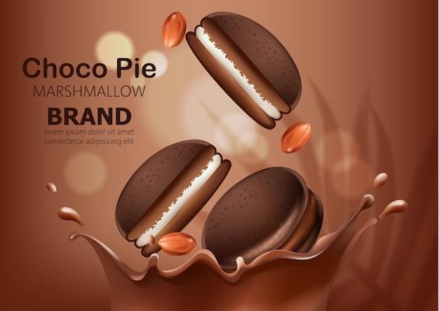 Ganze und hälften von marshmallow-schokoladenkuchen und erdnüssen, die in geschmolzene schokolade fallen. realistisch. . platz für text
