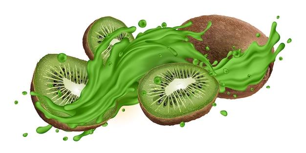 Ganze und in scheiben geschnittene kiwi in grünem saft