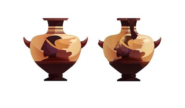 Ganze und zerbrochene antike vase mit dekoration archäologischer keramiktopf