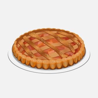 Ganzer apfelkuchen auf der platte lokalisiert auf weißem hintergrund. serviert mit schlagsahne oder eis, zuckerpulver. apfelstrudel, kuchenähnliches gericht aus teig, äpfeln, zucker und gewürzen.